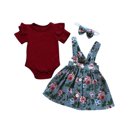 Newborn Girls ruffle sleeve, red romper top, floral print grey suspender skirt and headband dress set.