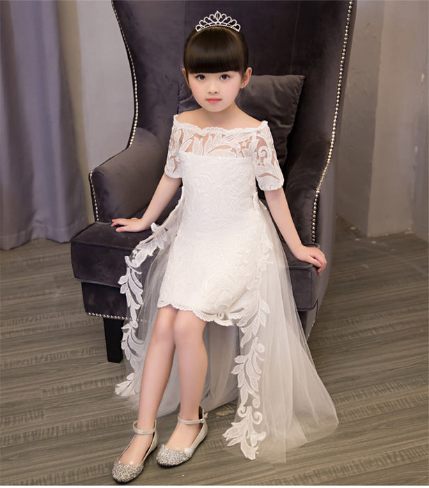 Red/White Fashion Popular Girls Children Princess Party Dress With Tail Wedding Birthday Embroidery Dress Kids Pageant Dress