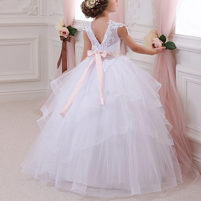 Elegant V Back Girls Dress for aby Kid Wedding Bridesmaid Multi-layer Tulle Long Children Princess Dress Vintage Kids Dresses