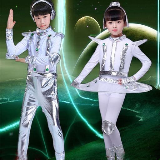 Kids Robot Costume  | White Silver Astronaut Space Performance Cosplay Dress