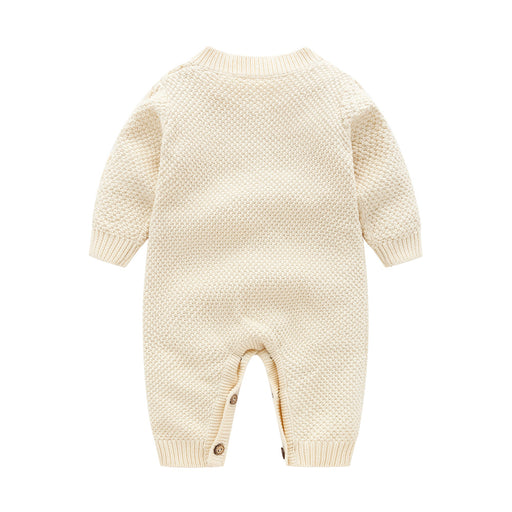 Newborn Baby Rompers | Kids Cable Knitted Jumpsuit & Warm Cap