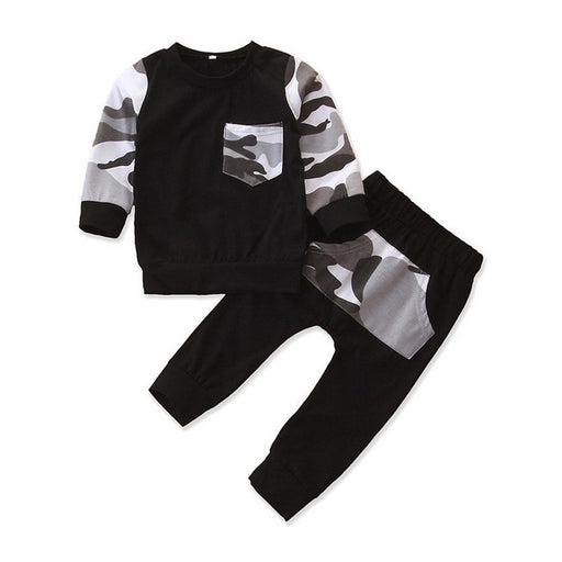Newborn Boys Camouflage Hoodie Top & Pant Clothing Suit Set