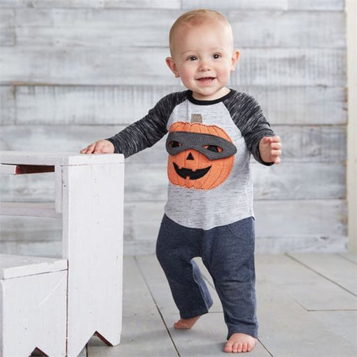 Baby Boys Halloween pumpkin theme style T-Shirt and Pant dress set.