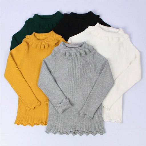 Funfeliz Baby Girl Sweater Ribbed Turtleneck Pullovers | Winter Tops Turtleneck Warm Sweater