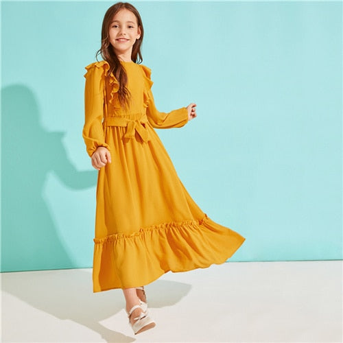 Girls Dresses | Girls Casual Dress - SHEIN Ruffle Belted Maxi Dress