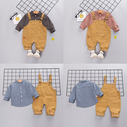 Kids grey, pink, blue checked cotton shirt and suspender pant clothing sets.
