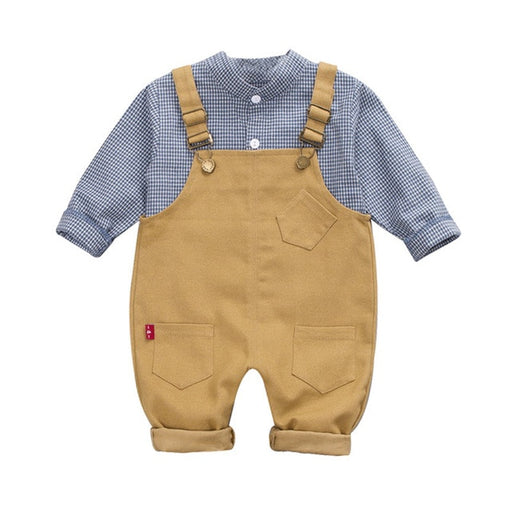 Kids blue cotton checked shirt and suspender pant clothing set.