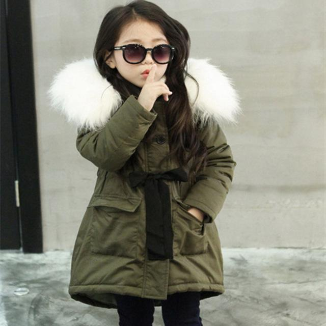 Girls Cotton Jacket&outwear Children Cotton-padded Army Green Jacket Girls Winter Clothes Warm Coat Fur Hooed Snowsuit Kids