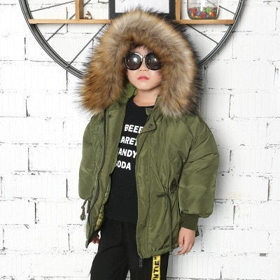 Boys Winter Jacket Fashion Army Green Baby Girls Down Coat Hooded Fur Collar Thick Windbeaker Parka Toddler Kids Outwear Clothes