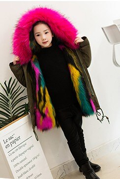 Girls Boys Fur Jacket Winter Parkas Toddlers Children's Outerwear Faux Fox Fur Coat For Girls Black Baby Hooded Clothes