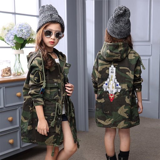 New Children's Clothing Fashion Girls Fall Child Long Waist Long Girls Coat