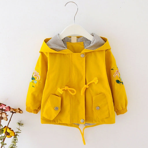 Baby Girls Outerwear Jacket | Girls Flower Embroidery Hooded Coat