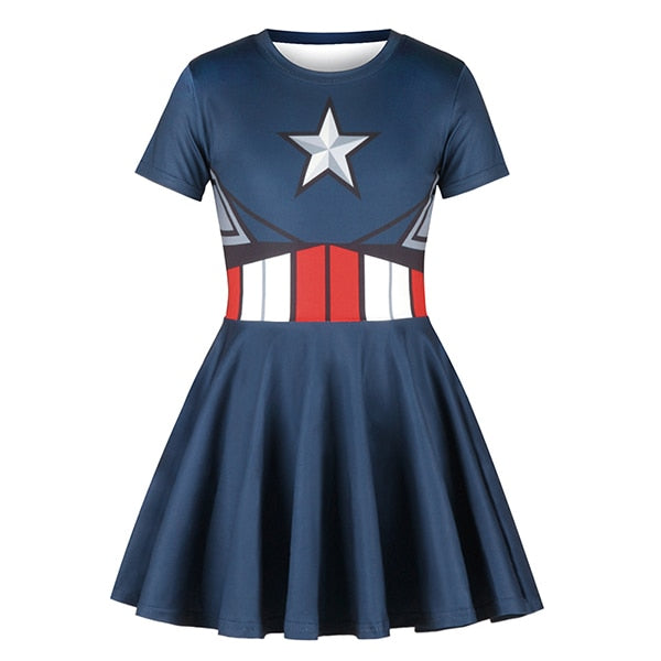 Kids Girls Captain American Superhero Cosplay The Flash Costume Ball Halloween Costume Suit Fashion Fold Girl Short Sleeve Dress