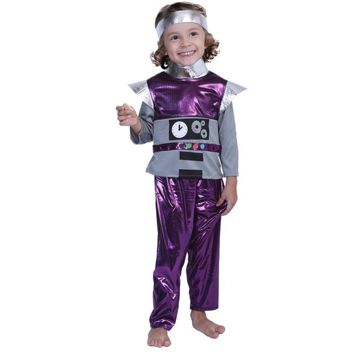 Halloween Family Party Cosplay Adult or Boy or Girl Robot Costume For Kids Child Purple Grey Robot Fancy Dress Clothes