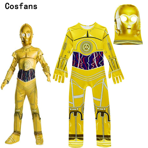 Kids Cosplay Costumes Boys Jumpsuits Star Wars Movie Robot Cosplay Children Festive Party Supplies Kids Robot C3-PO Streetwear