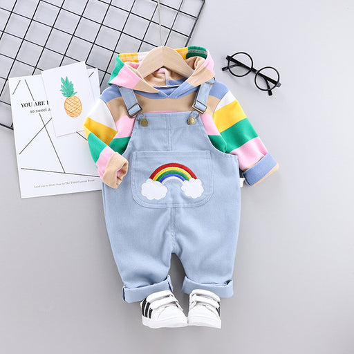 Newborn Kids Striped Rainbow Hoodie & Strap Pants Clothing Set