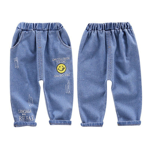 Boys Casual Jeans | Toddler Boys Smiley Print Denim Jeans Pants