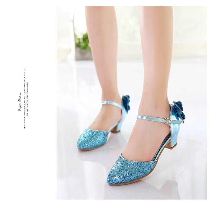 YoYo Girls Sequins Sandals | Butterfly Buckle Fish-Front Sandals Heel Princess Glitter Shoes