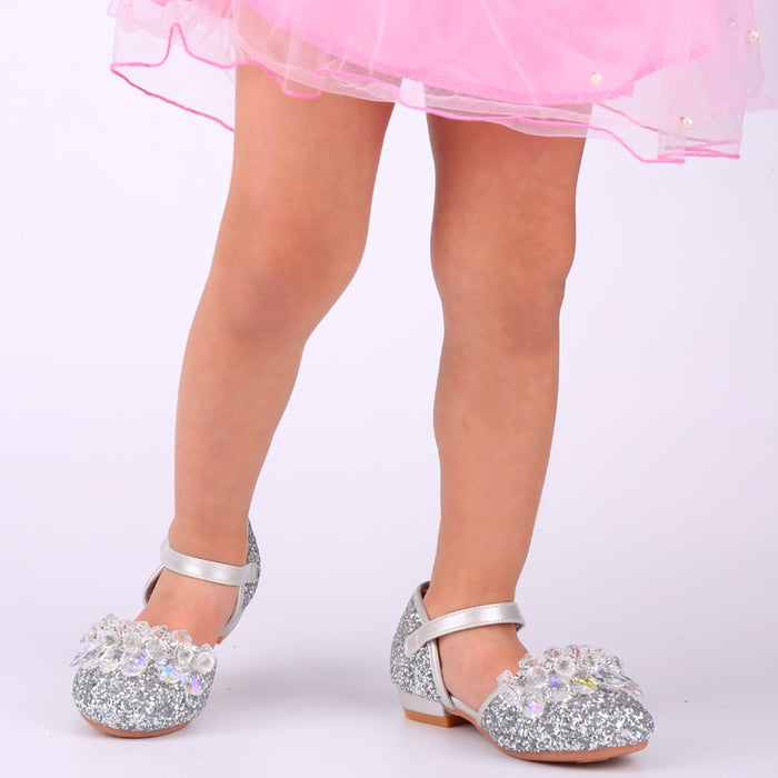 Baby Girls Round Toe Low Heel Glittering Crystal Sandals | Crystal Flower With Beading Rhinestone Hollow-out Shoes