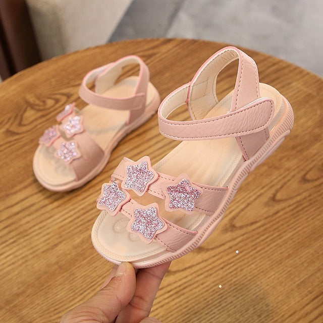 Baby Girls Star Sequins Blinging Glitter Casual Sandal Shoes with Velcro Strap