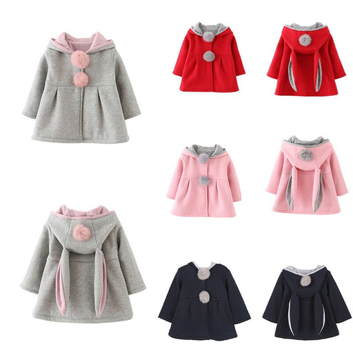 Baby Girl Winter Jacket Outerwear | Girls Rabbit Ear Hoodie Coat