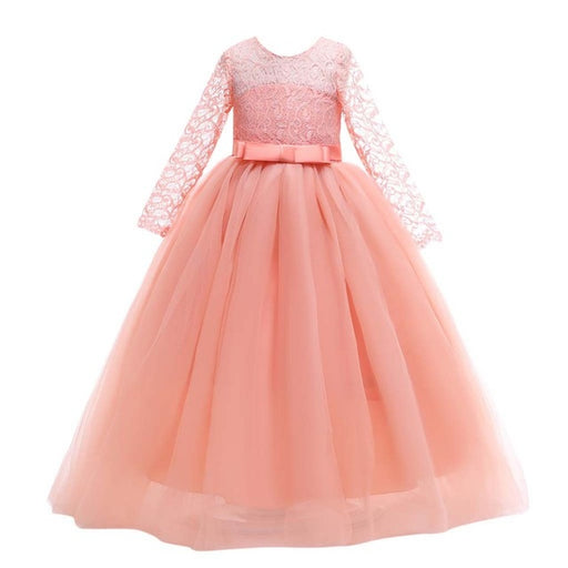 Girls full sleeve embroidery satin belted mesh frilled long gown, peach party frock.