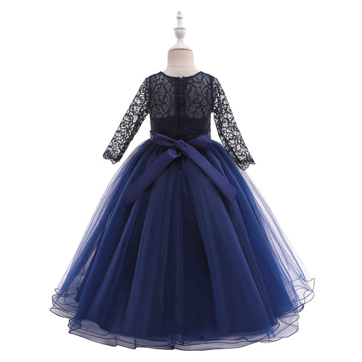 Girls full sleeve embroidery satin belted mesh frilled long gown, navy blue party frock.