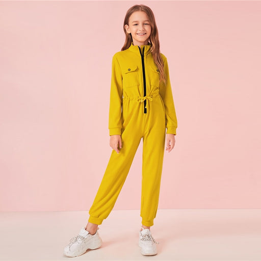 Girls SHEIN Yellow Flap Pocket Jumpsuit | Girls Activewear Zipper Dress