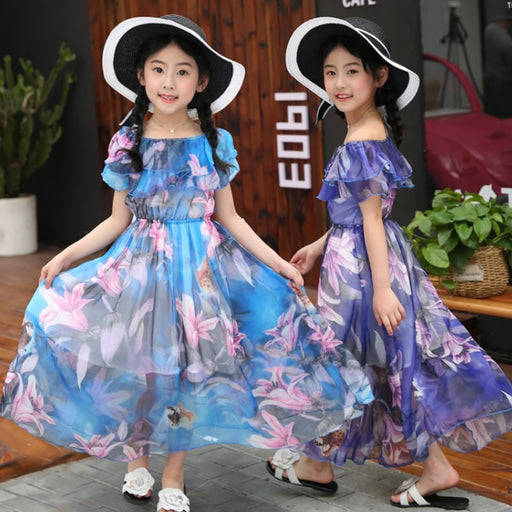 Girls Party Wear Casuals | Princess Elegant Floral Long Boho Maxi Frock