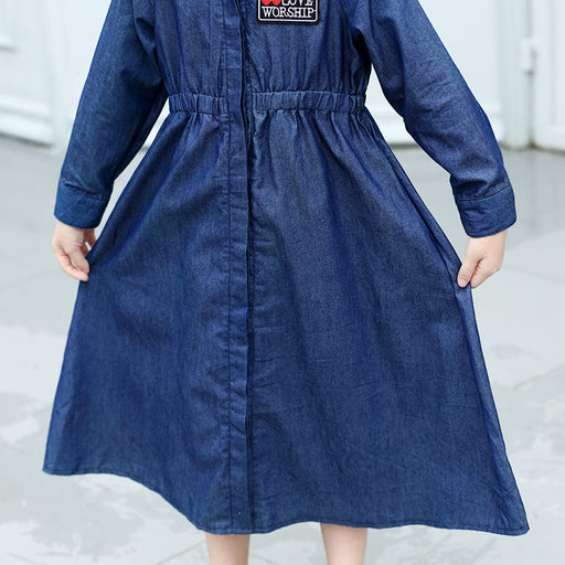 Girls Casual Wear | Girls Long Denim Embroidery Maxi Outfit