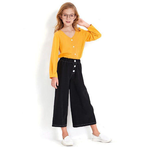 Girls Casual Wear | SHEIN Front Button Chiffon Top & Wide Pant Set