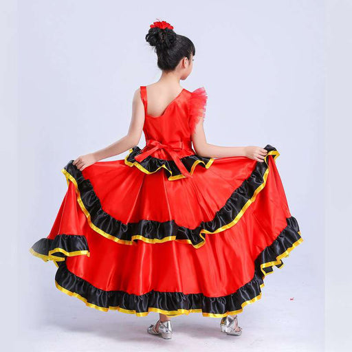 Girls Spanish Flamenco Dance Costume & Fancy Skirt Dress