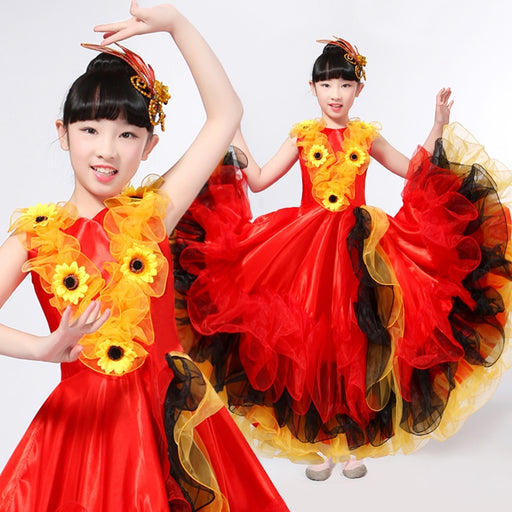 Girls Spanish Flamenco Dance Costume & Gypsy Stage Swing Skirt