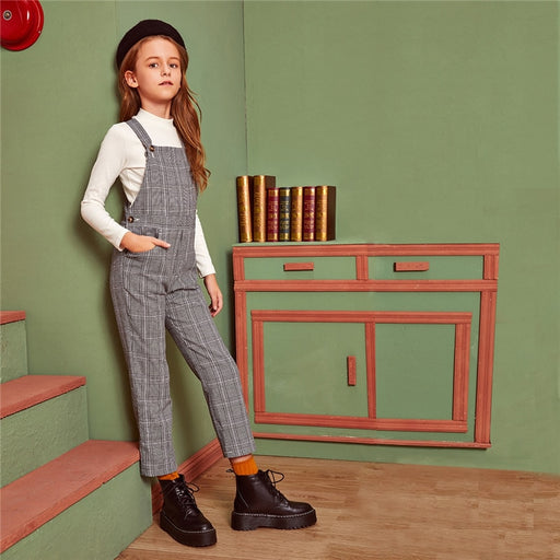 Girls SHEIN Grey Plaid Button Strap Jumpsuit | Girls Activewear Dress