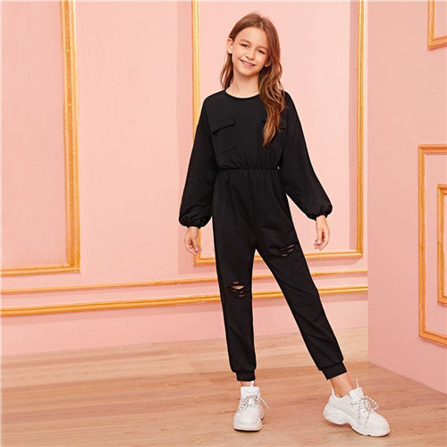 Girls SHEIN Black Patched Jumpsuit | Girls Split Back & Ruffle Dress
