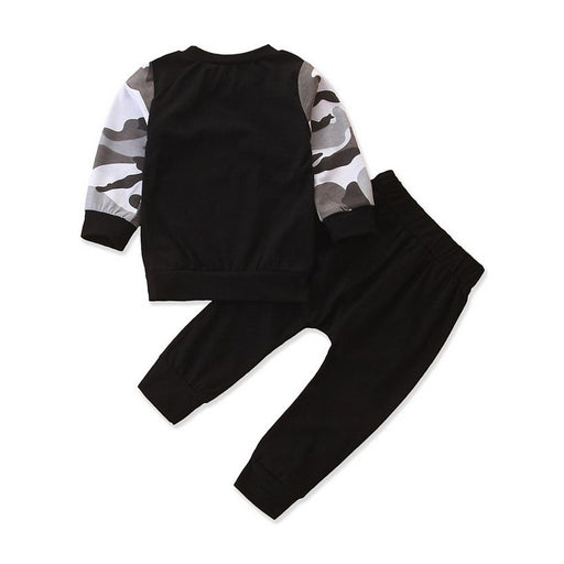Boys Camouflage Print Sweatshirt & Track Suit Clothing Set Outfit