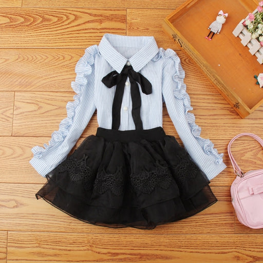 Girls Casual Wear | Striped Long Sleeve Shirt & Frilled Lace Skirts