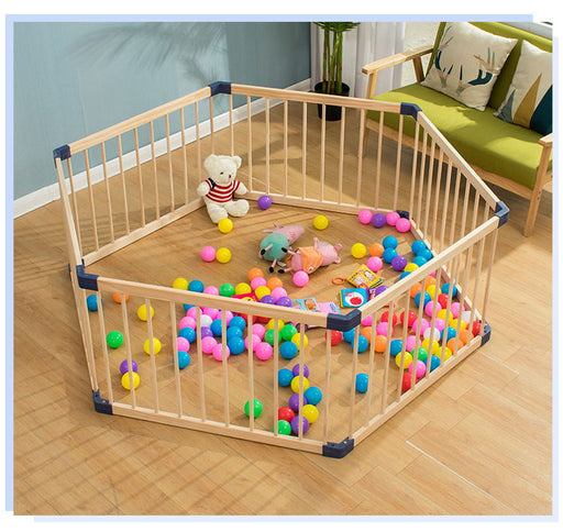 Baby Kids wooden ball pool, wood fence colorful balls, safety fence playpen.