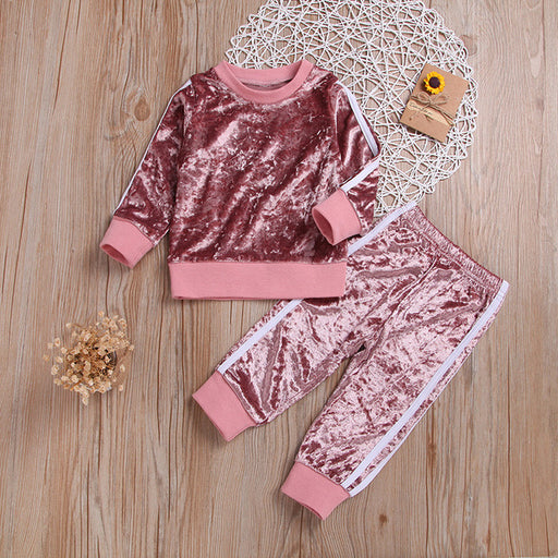 Baby Girls sequin light pink sweatshirt and track pant clothes set.