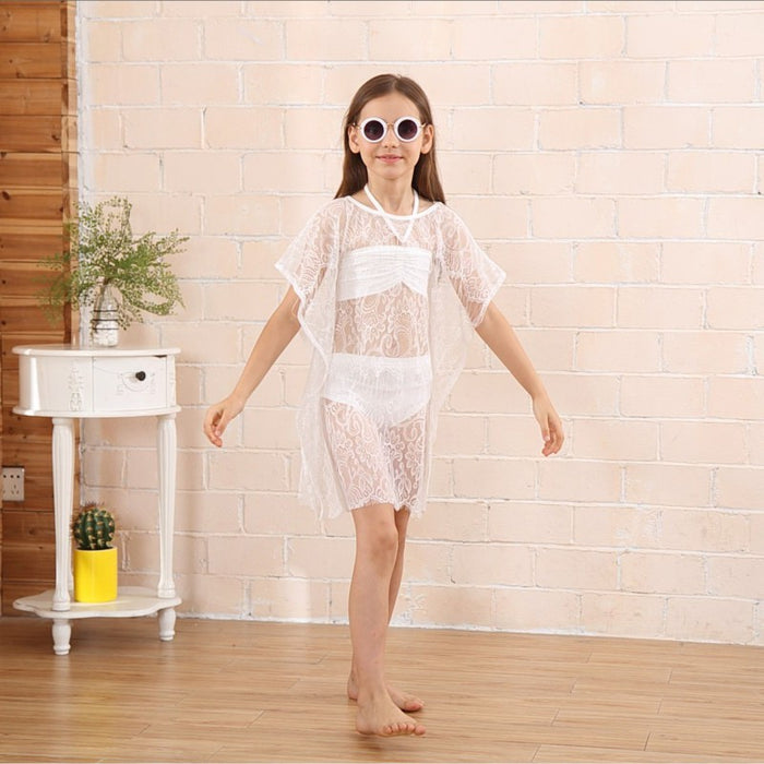 Baby Girls Solid Beachwear Lace Blouse Dress Summer Children Bikini Beach Set