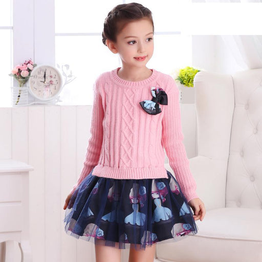 Girls Winter Clothing | Winter Knitted Sweater & Frilled Skirt Dress