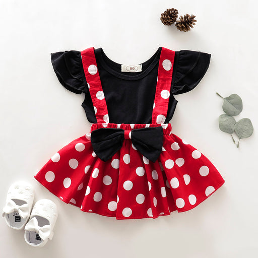 Baby Girls Casual Clothing | Polka Dot T-Shirt Suspender Dress Set