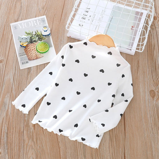 Girls Casual Clothing | Girls Heart Print High Neck Top