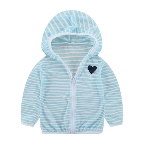 Unisex Newborn Boy Girl Jackets | Kids Striped Hooded Zipper Coat