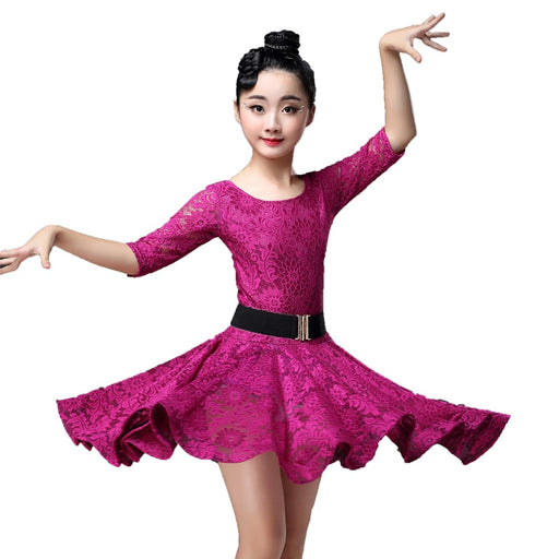 Girls Flamenco Dance Costume | Ballroom Latin Salsa Lace Dance Wear