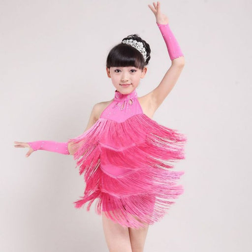 Girls Ballroom Dance Wear | Girls Latin Salsa Tassel Vestidos Dress