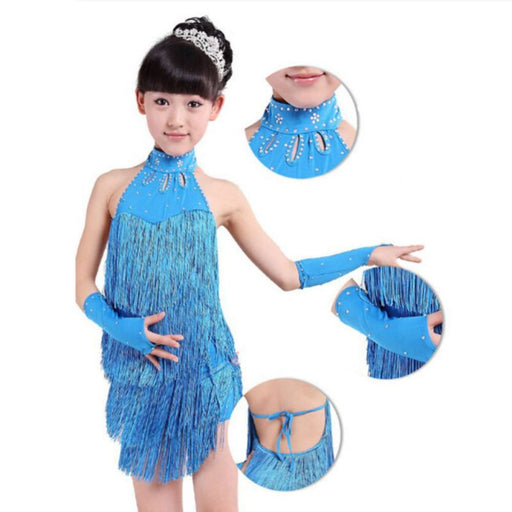 Girls Ballroom Dance Wear | Girls Latin Salsa Tassel  Dance Costume