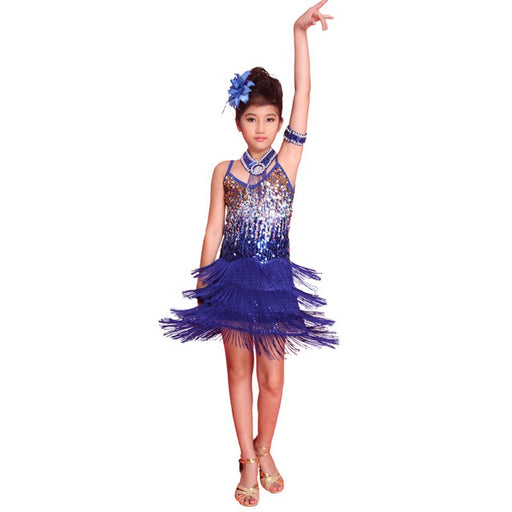 Girls Ballroom Dance Costume | Girls Latin Salsa Fringe Sequined Dress