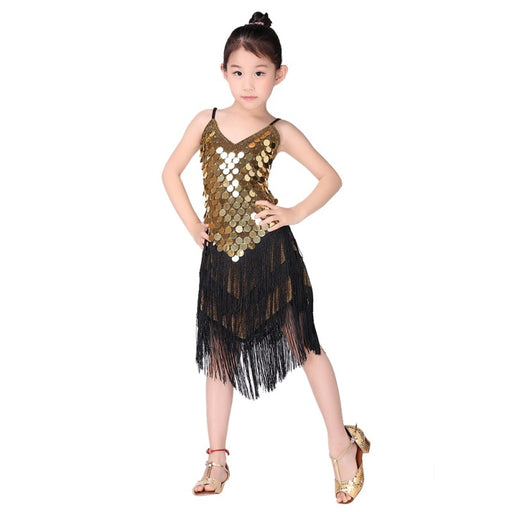 Girls Ballroom Dance Costume | Girls Sequin Tassel Salsa Dress