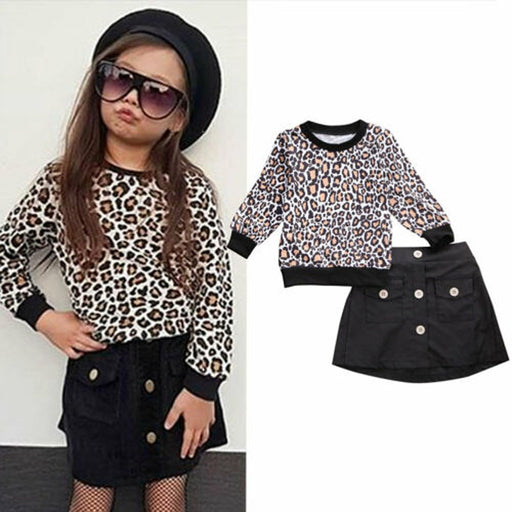 Girls leopard print full sleeve t-shirt top and button front, pocket, elastic waist, black mini skirt, fashion dress set.